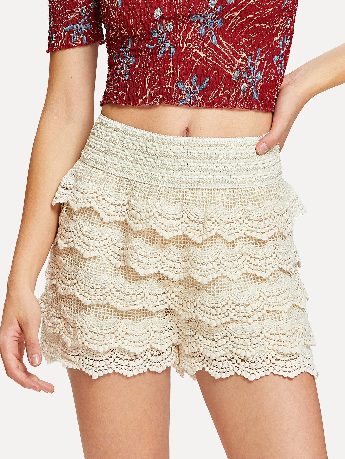 Tiered Crochet Lace Shorts