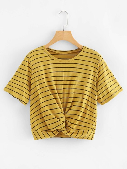 Twist Striped Crop Tee