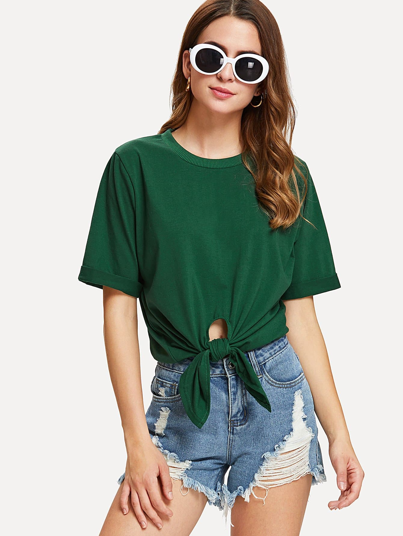 Knot Front Rolled Cuff Tee knot front tee