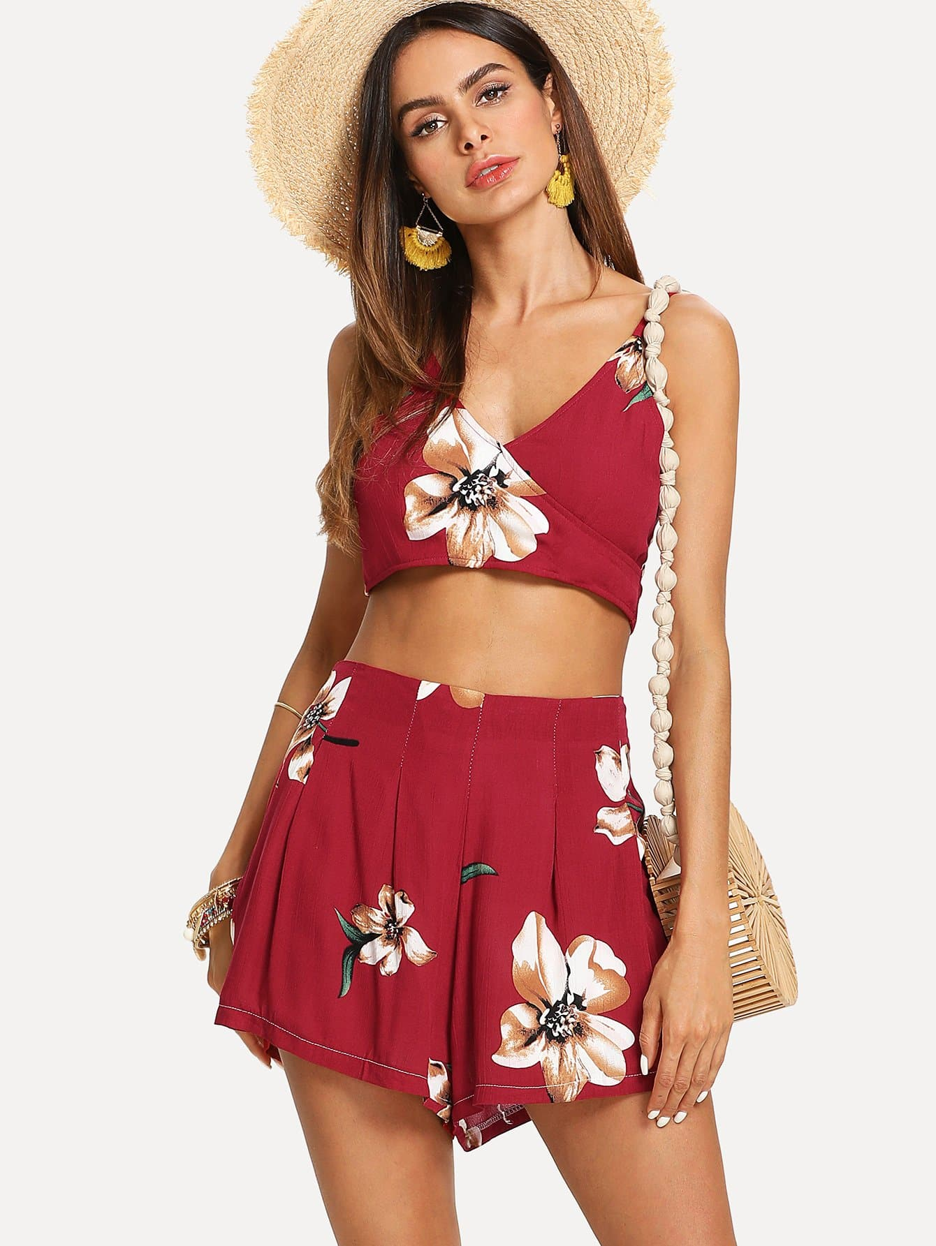 Knot Back Surplice Crop Cami Top With Shorts color block crop cami top with shorts