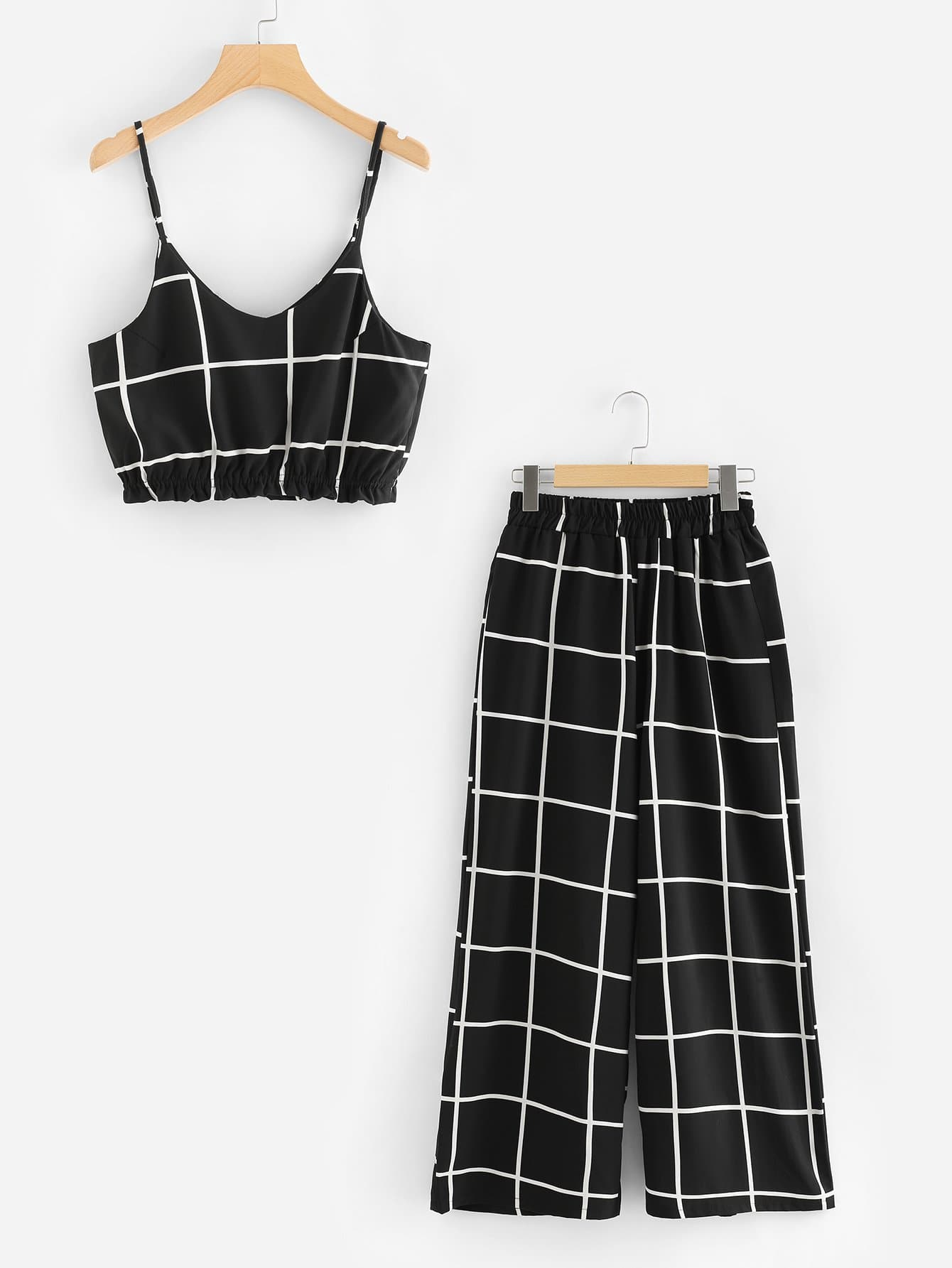 Grid Print Crop Cami Top With Wide Leg Pants wide leg grid crop pants