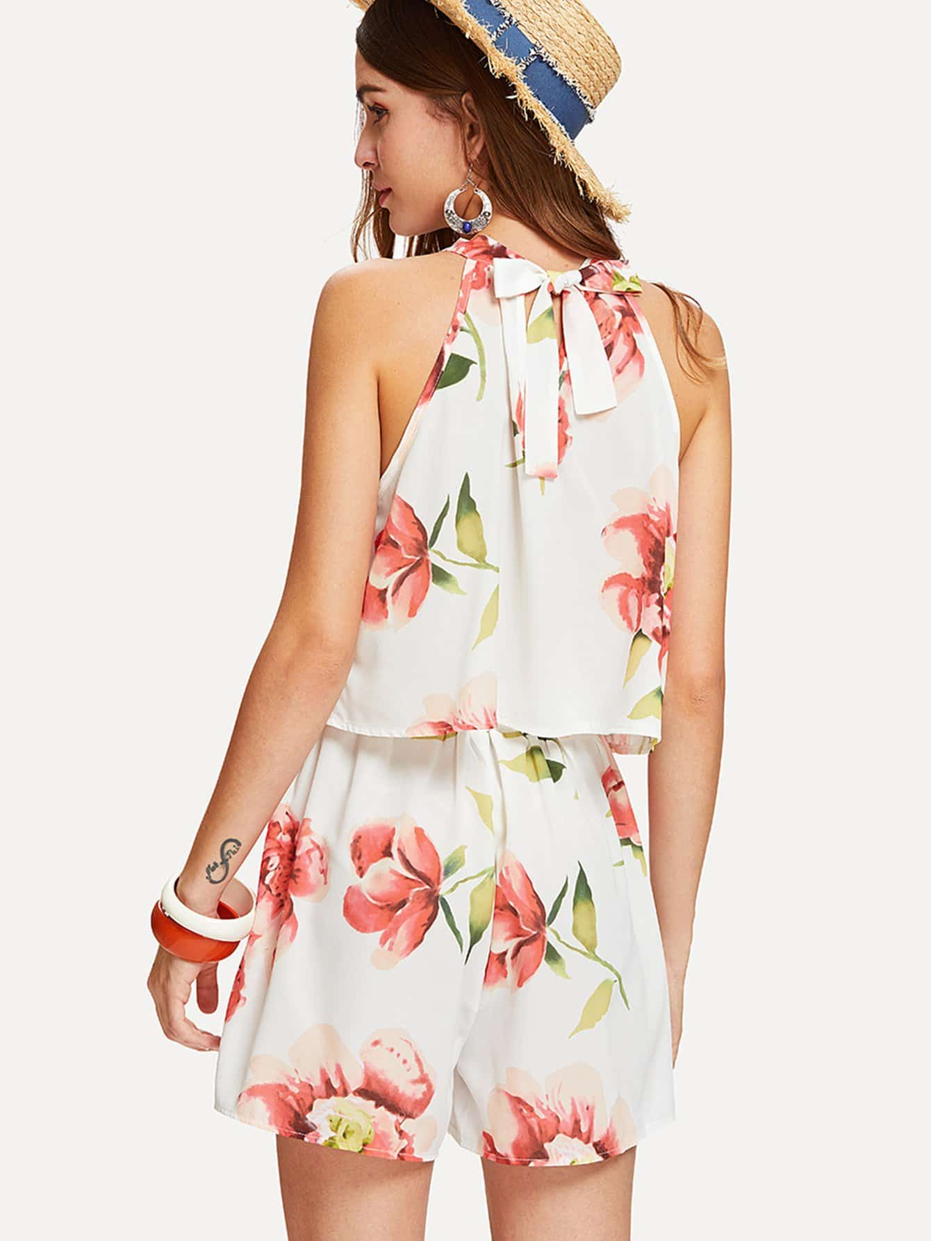 Florals Halter Top With Box Pleated Shorts allover florals bow tie detail frill top with shorts