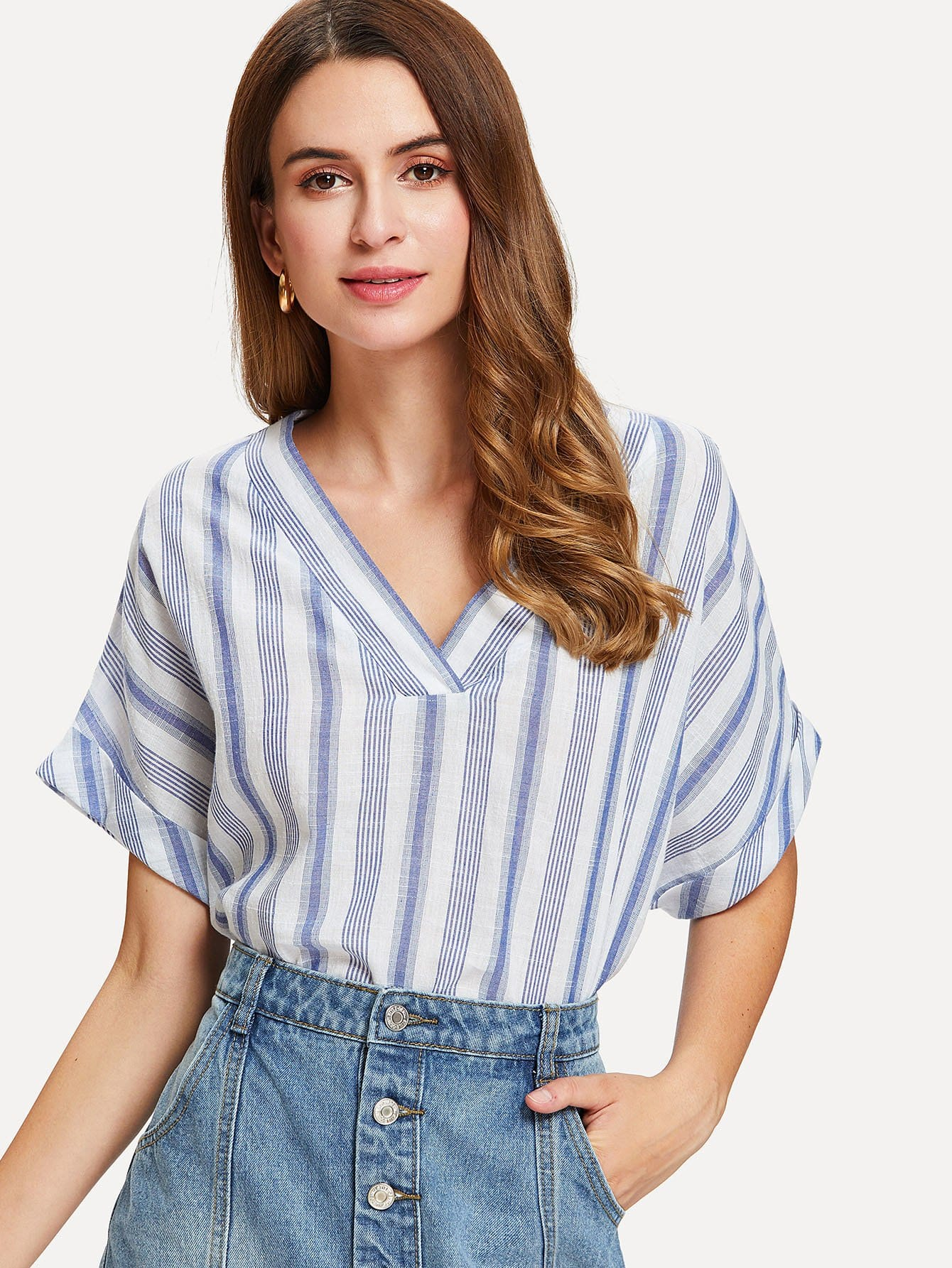 Rolled Cuff Stepped Hem Striped Top striped rolled hem shorts