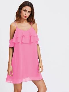 Open Shoulder Tiered Ruffle Flowy Dress