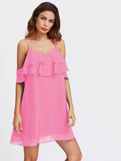 Open Shoulder Tiered Ruffle Flowy Dress