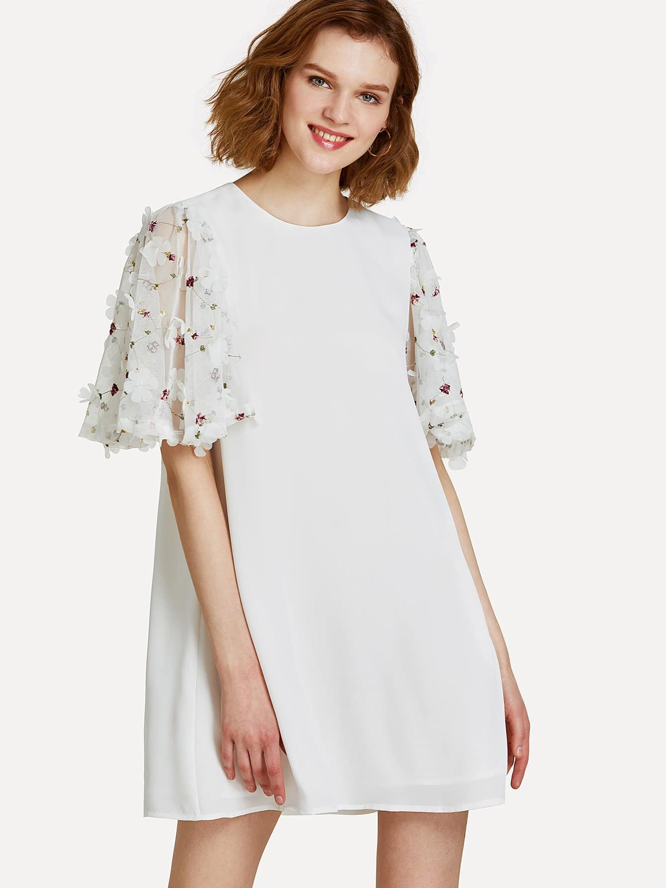 Applique Embroidery Flutter Sleeve Swing Dress embroidery applique knot back fitted