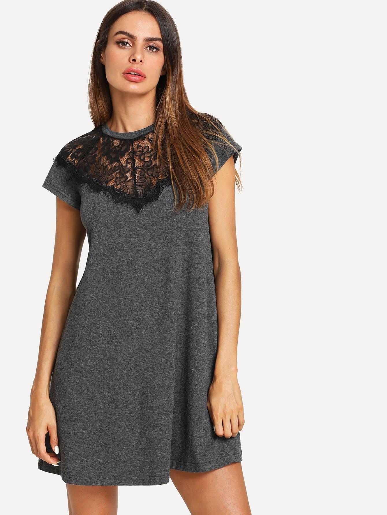 Lace Paneled Marled Swing Dress lace velvet swing dress
