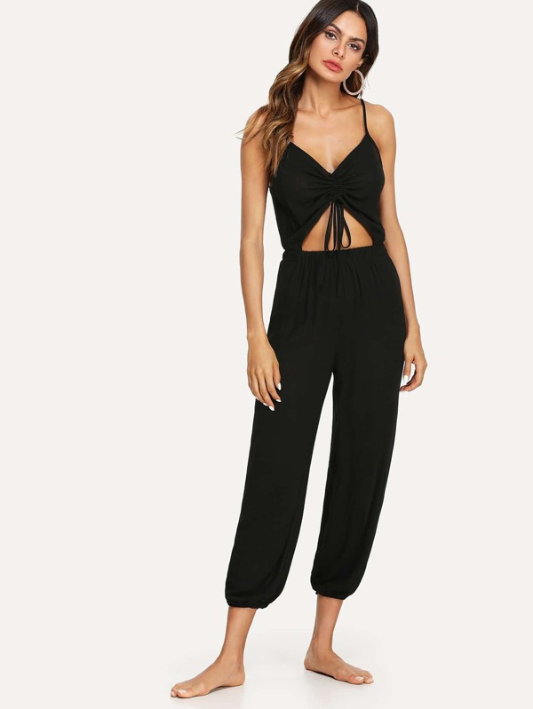 Cut Out Drawstring Front Gathered Hem Cami Jumpsuit by Shein