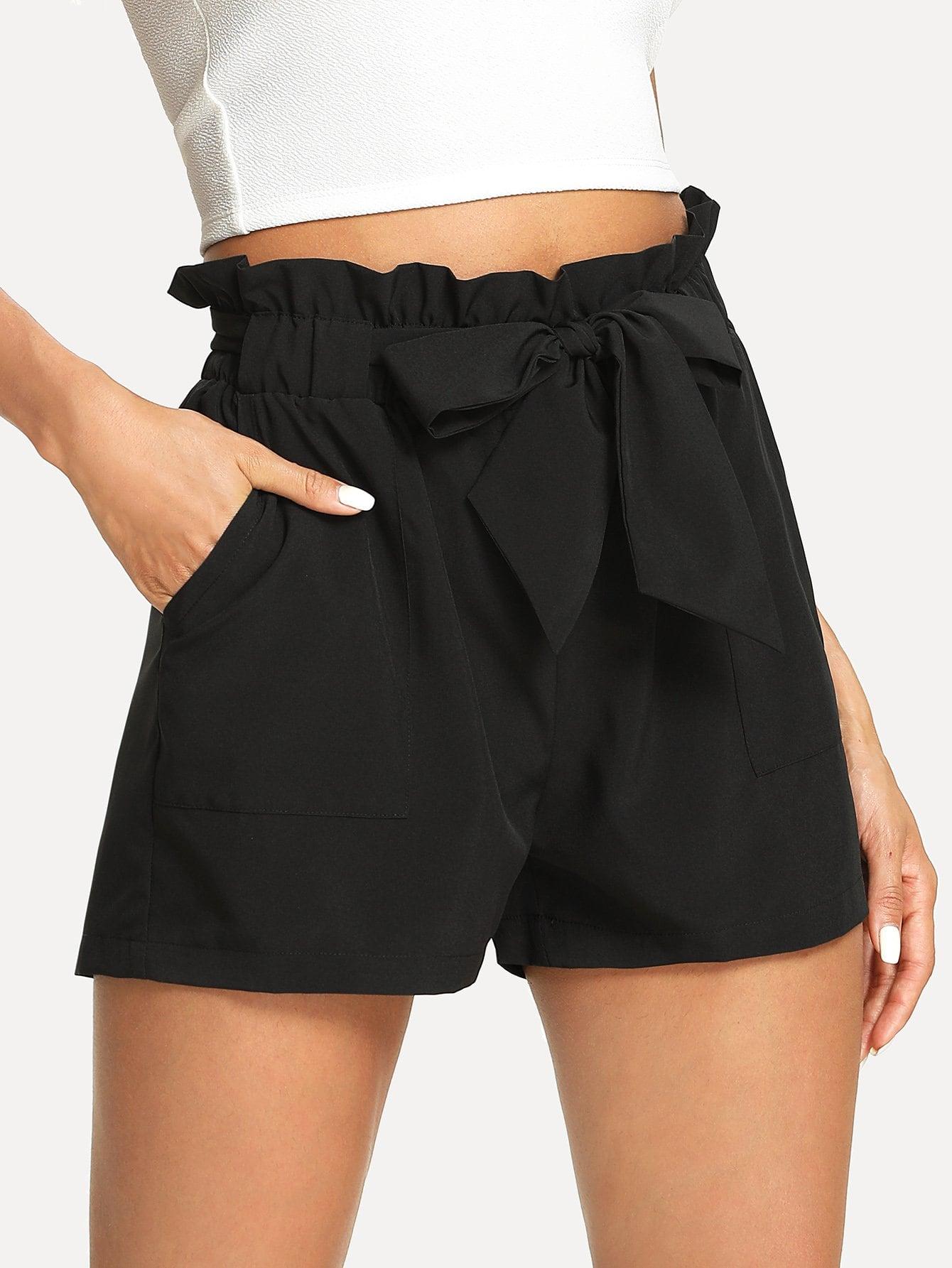 Self Belted Ruffle Waist Shorts ruffle waist belted peg pants