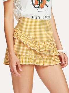 Tiered Ruffle Embellished Gingham Skirt Shorts