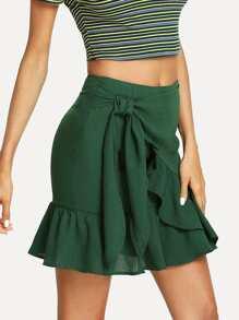 Knot Side Solid Ruffle Hem Skirt