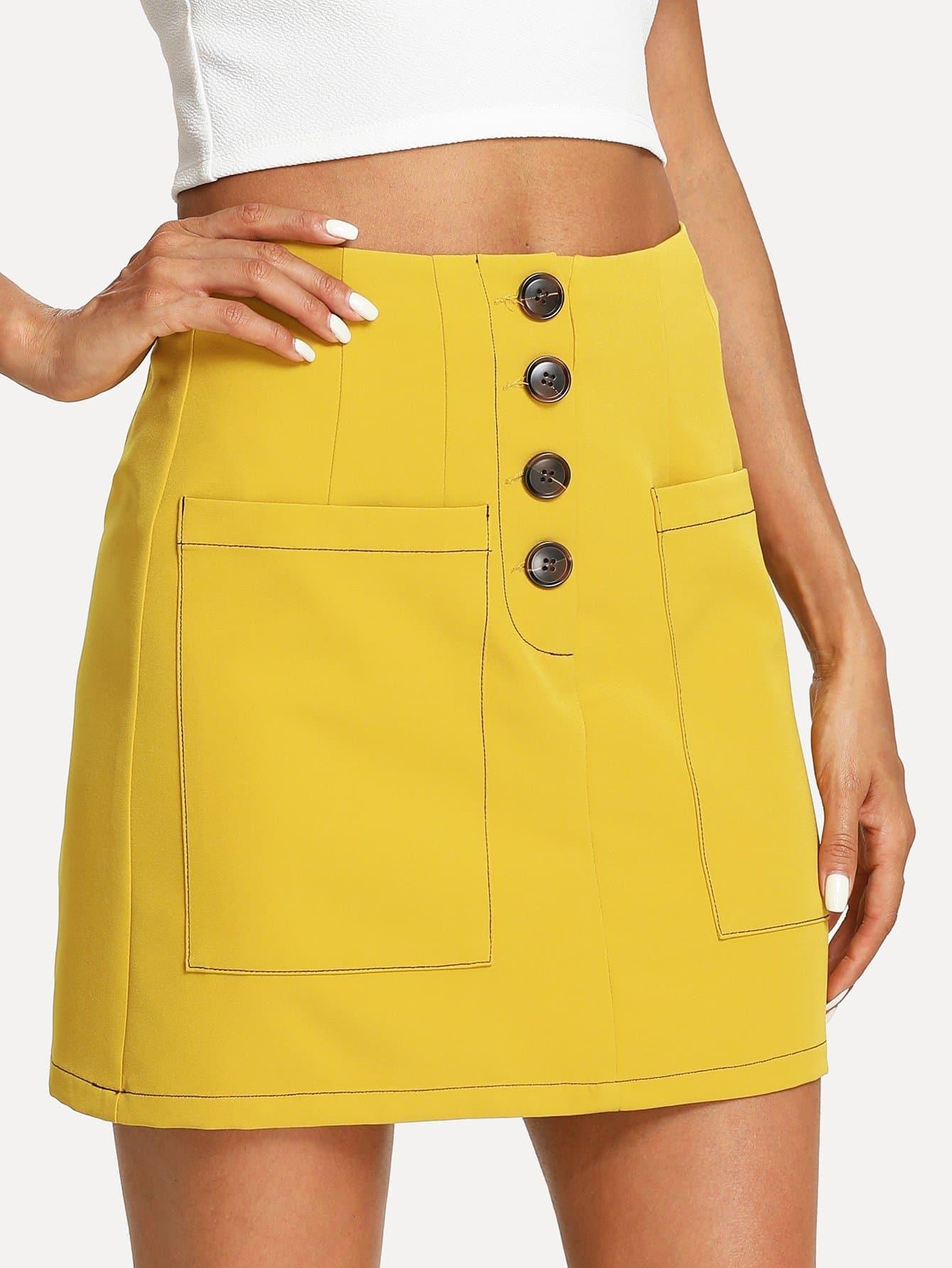 Pocket Patched Button Up Skirt high waist pocket patched dot skirt