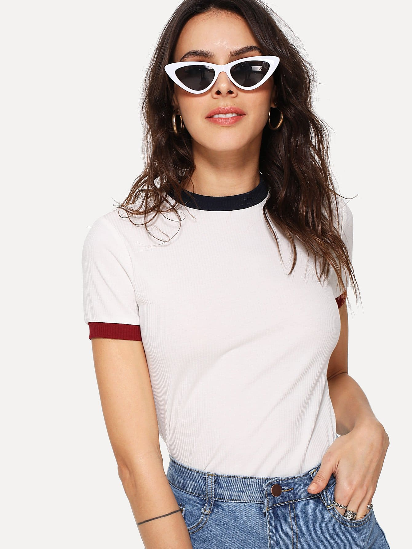 Ribbed Knit Ringer Tee color block knit ribbed tee