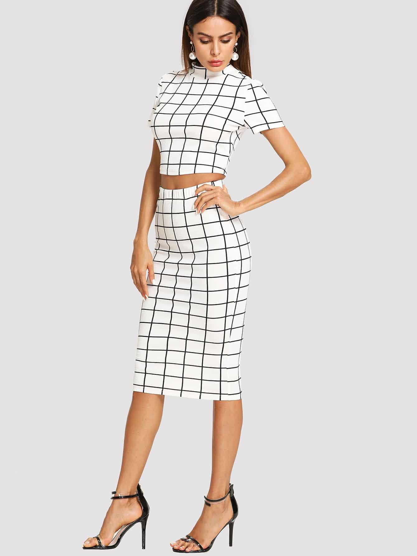 Mock Neck Grid Crop Top & Pencil Skirt Set mock neck crop top