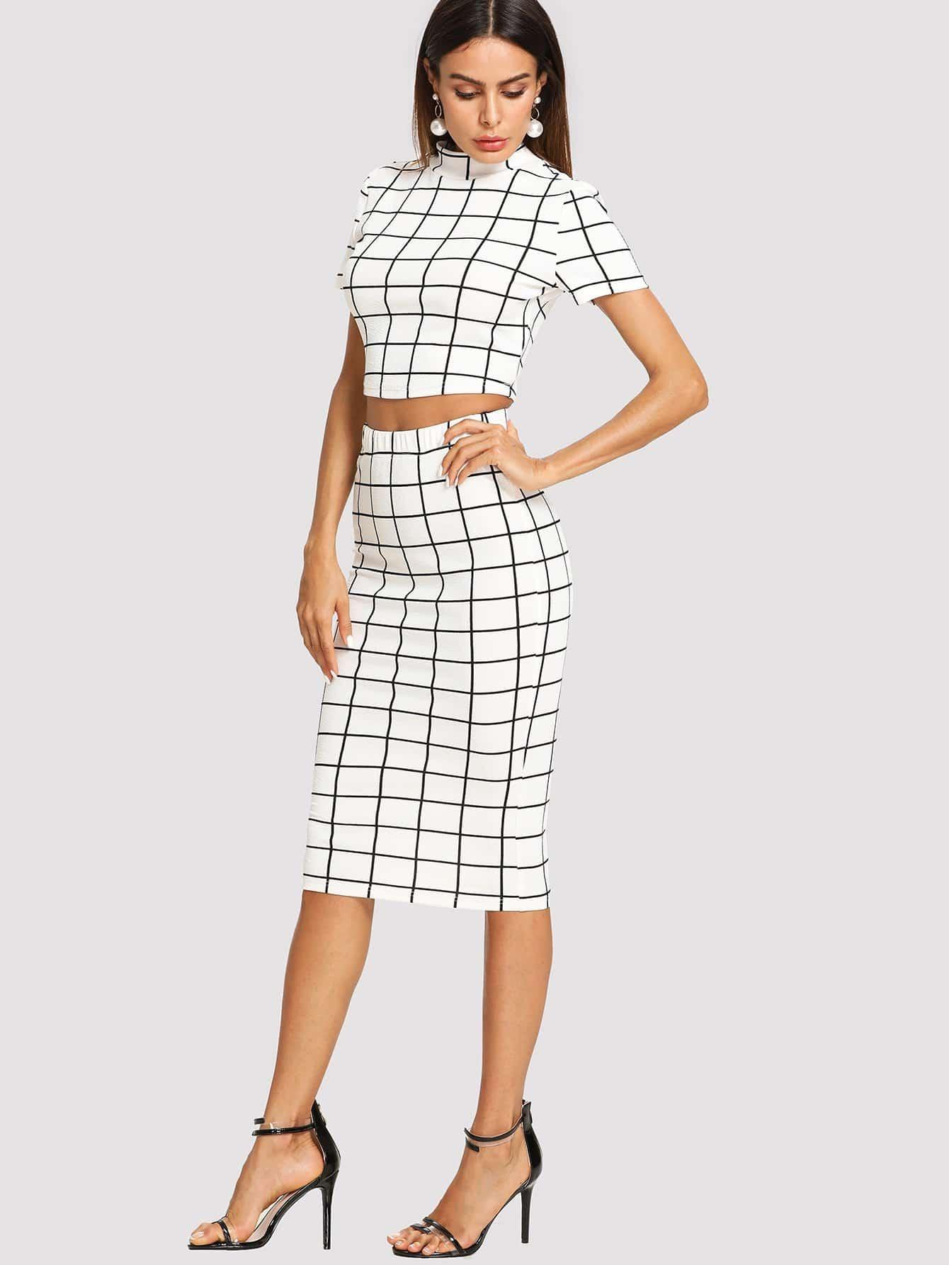 Mock Neck Grid Crop Top & Pencil Skirt Set faux suede crop top and pencil skirt