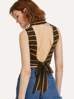 Knot Open Back Striped Ribbed Shell Top