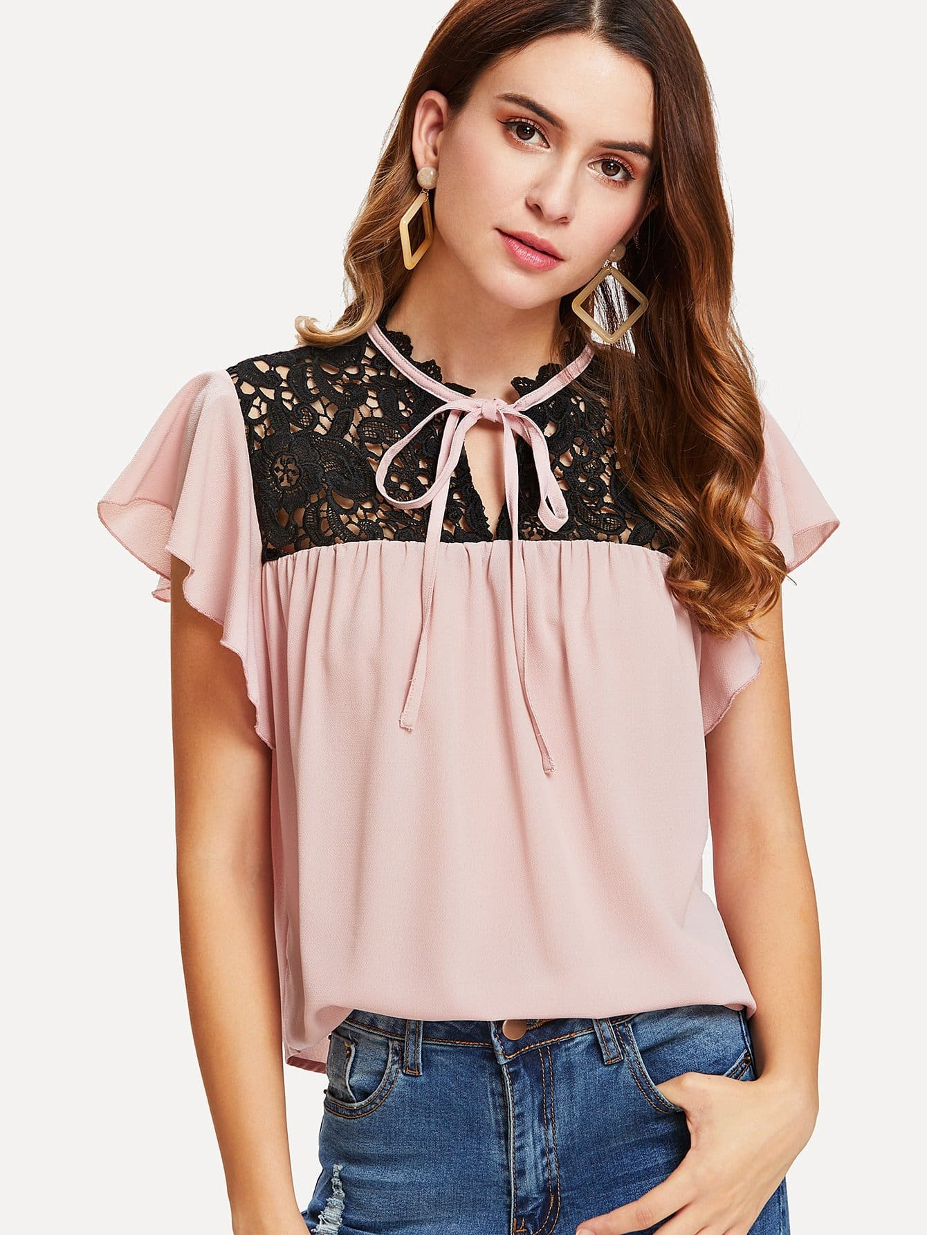 Tie Neck Lace Yoke Flutter Sleeve Top lace panel yoke top