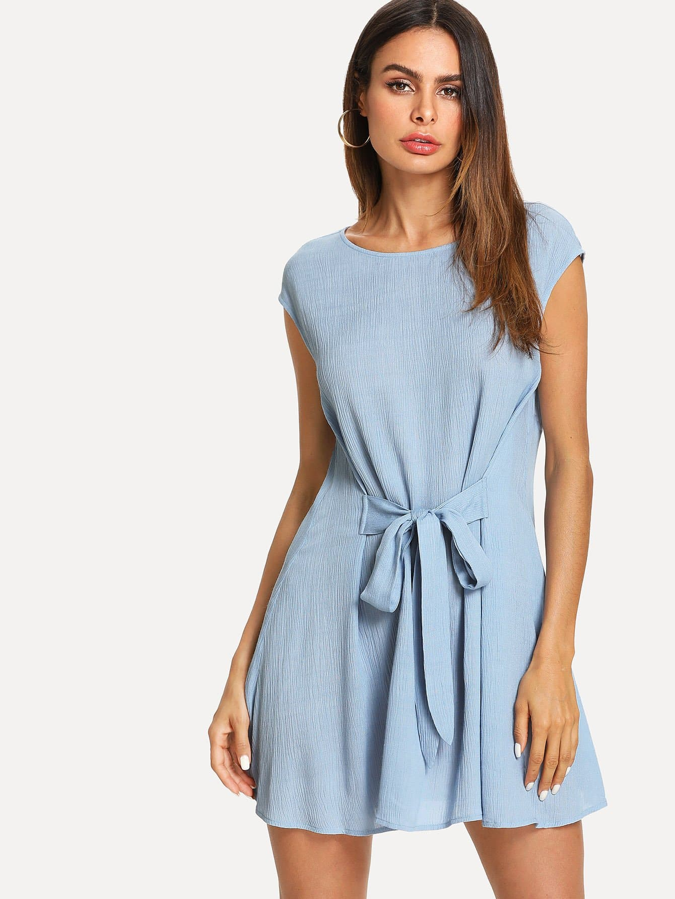 Knot Front Solid Dress knot front fit