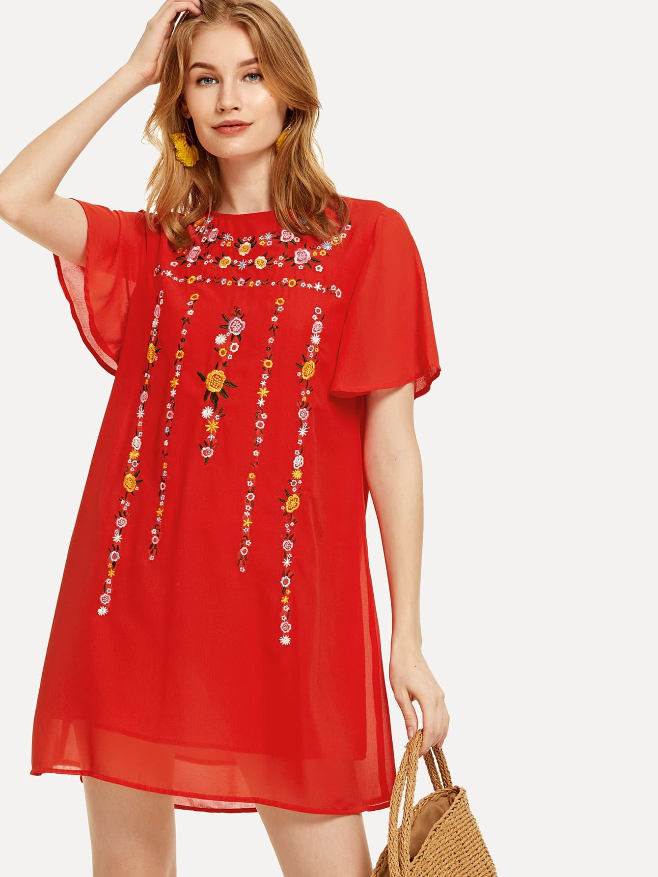 Floral Embroidered Flutter Sleeve Tunic Dress flutter sleeve elastic waist floral dress