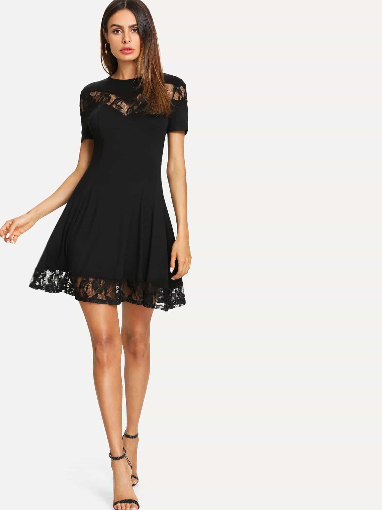 Lace Insert Fit & Flared Dress lace insert flared sleeves mini dress