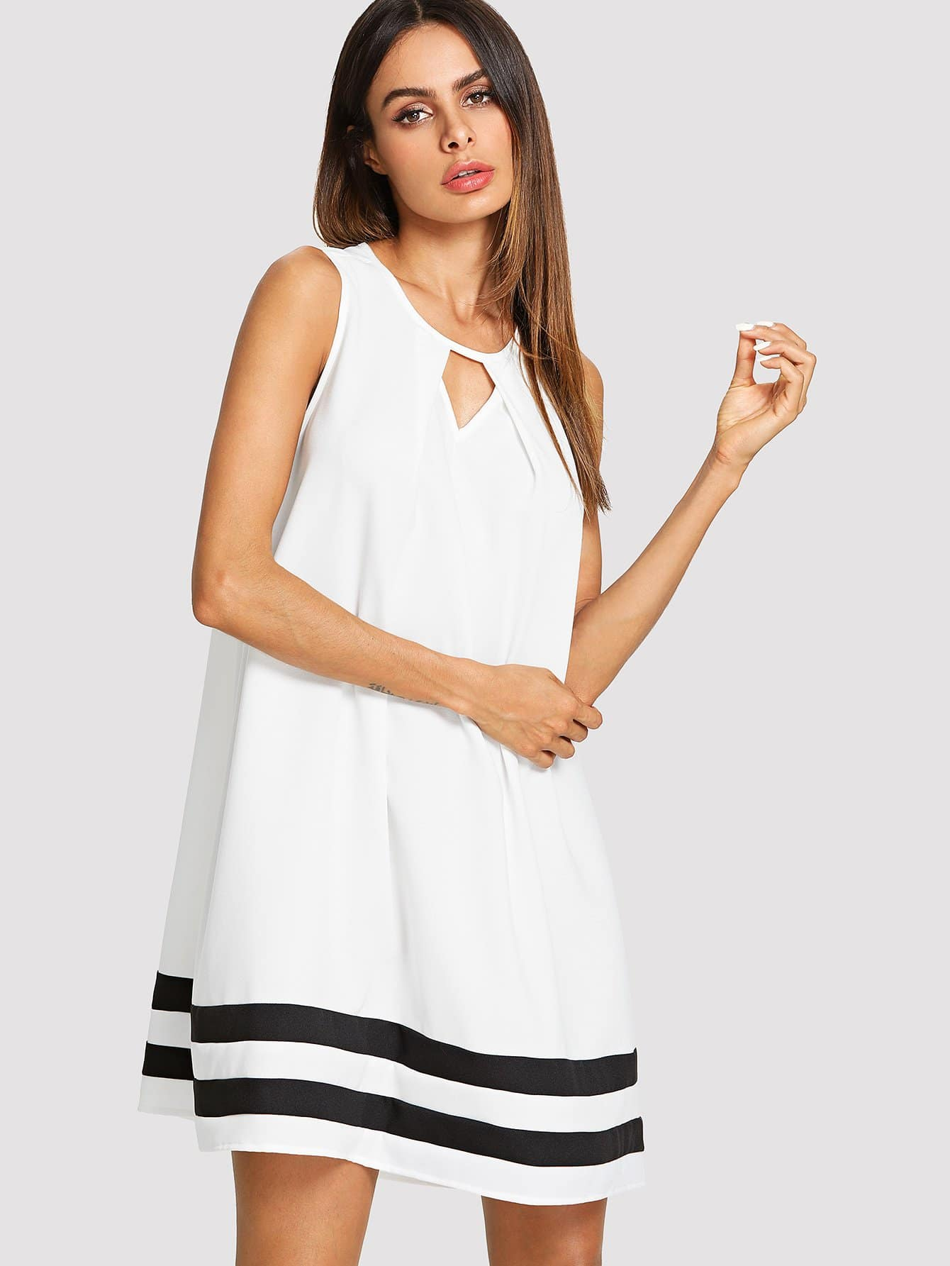 Cut Out Front Contrast Tape Dress contrast collar foldover front dress