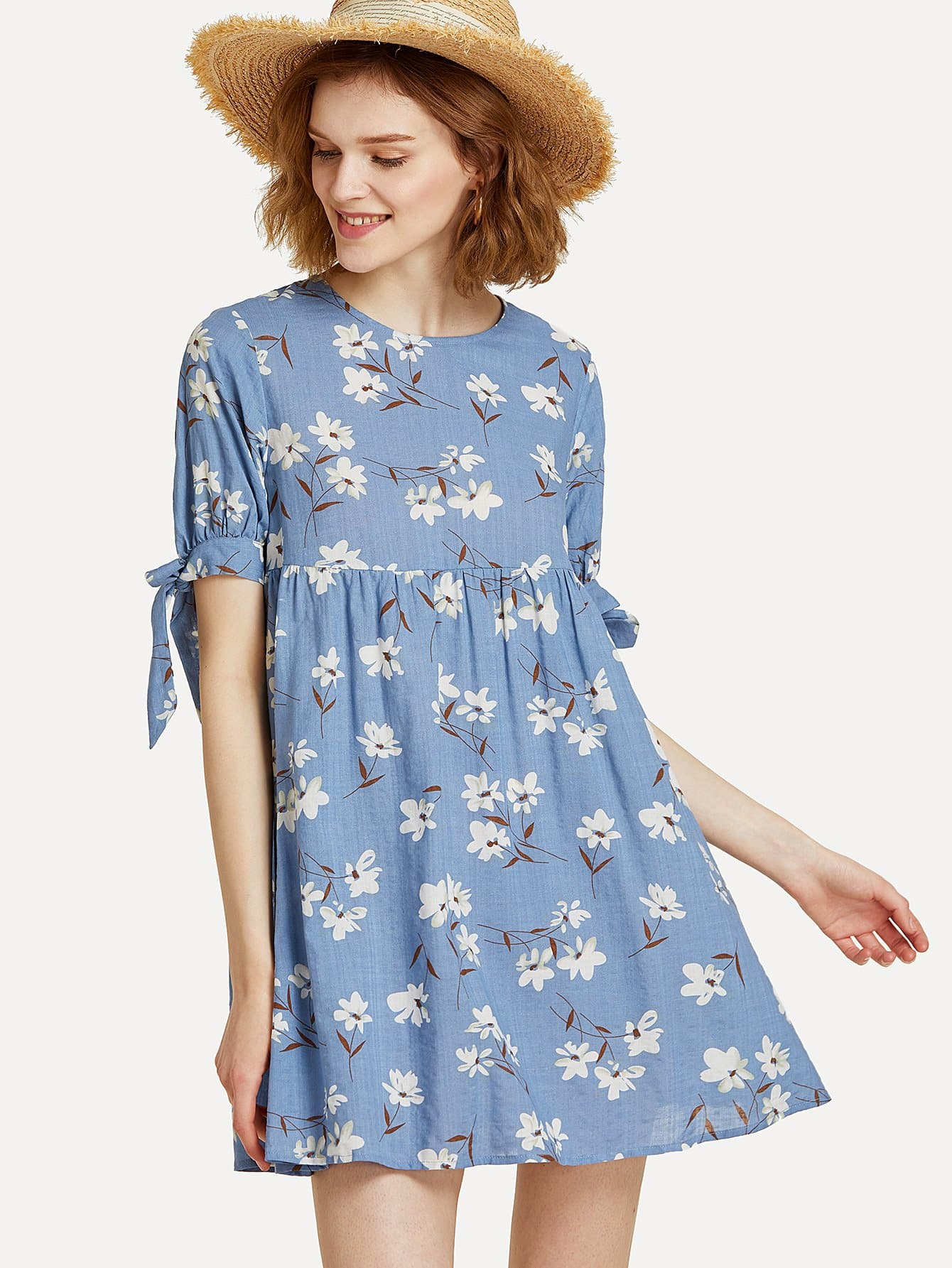 Knot Cuff Keyhole Back Floral Dress plunging neck knot back floral dress