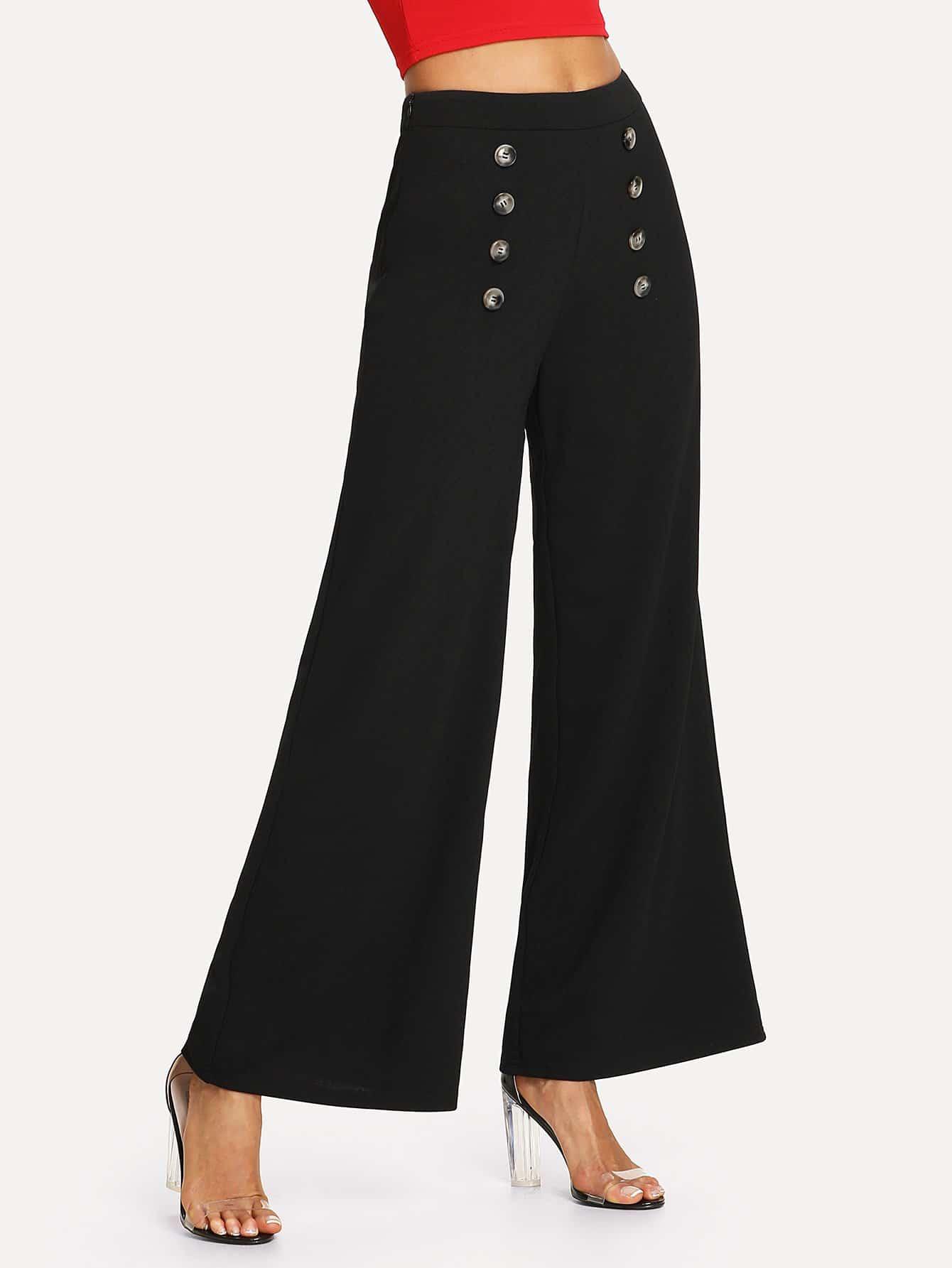 Button Embellished Wide Leg Pants button embellished fit