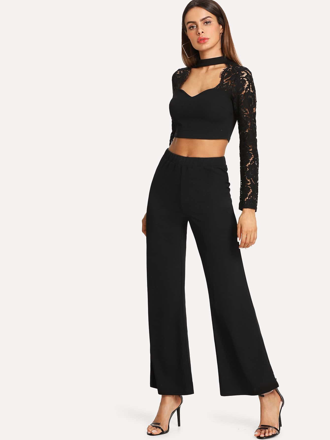 Фото Choker Neck Lace Panel Crop Top & Wide Leg Pants Set black choker sleeveless crop top
