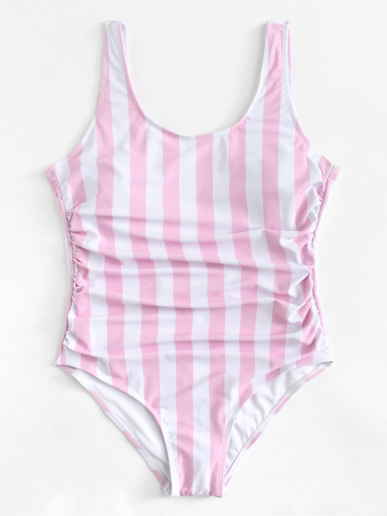 Plus Ruched Detail Low Back Striped Swimsuit tassel detail striped swimsuit