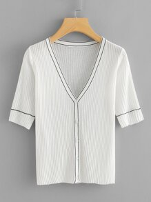 Button Front Rib Knit Striped Top