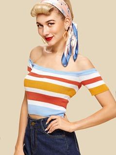 Off Shoulder Striped Knit Top