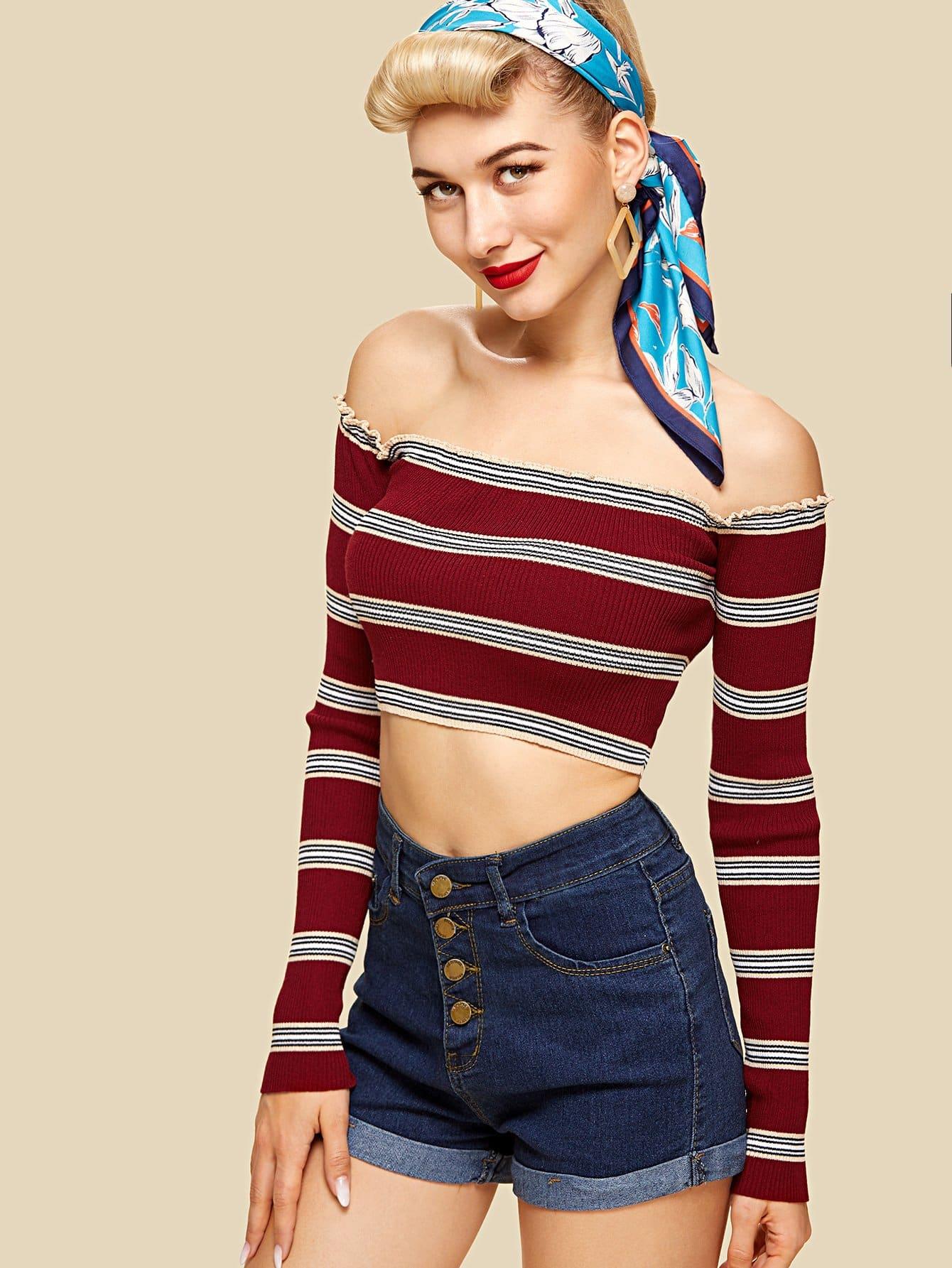 Rib Knit Striped Bardot Top rib knit striped bardot top