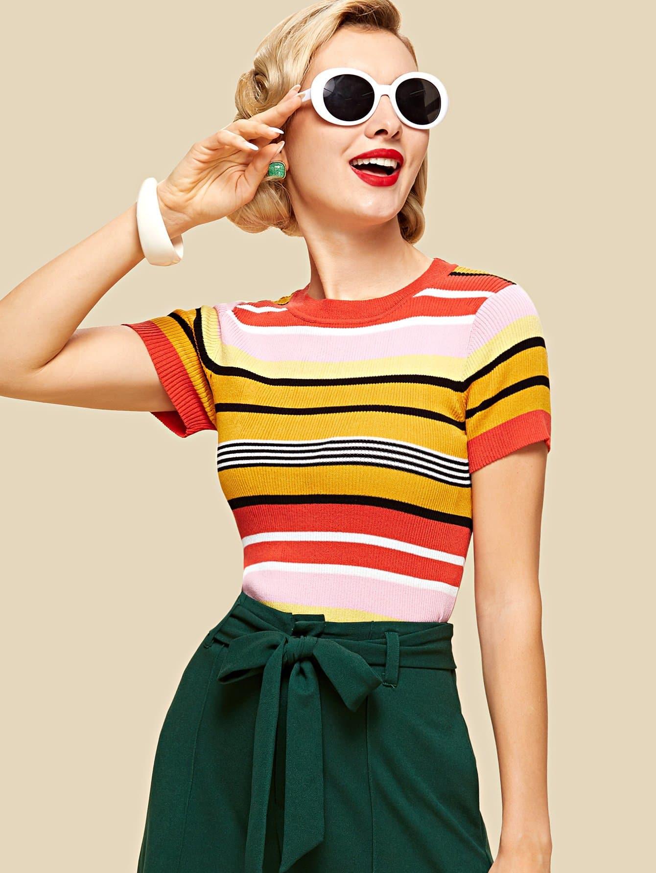 Slim Fit Striped Knit Top футболка wearcraft premium slim fit printio шварц