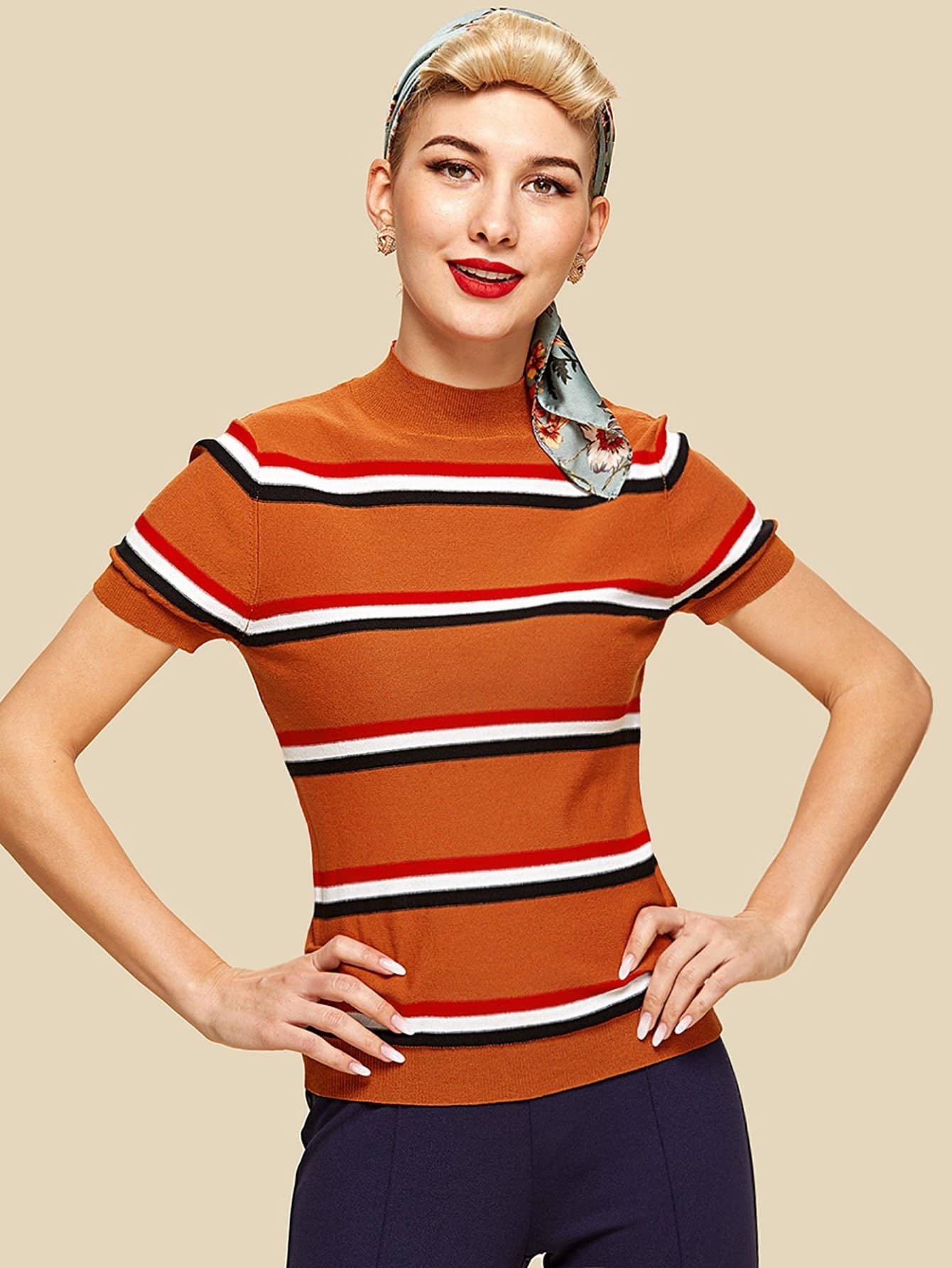 Mock Neck Striped Knit Top contrast striped trim camo print tee