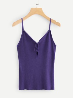 Lace Up Front Rib Knit Cami Top