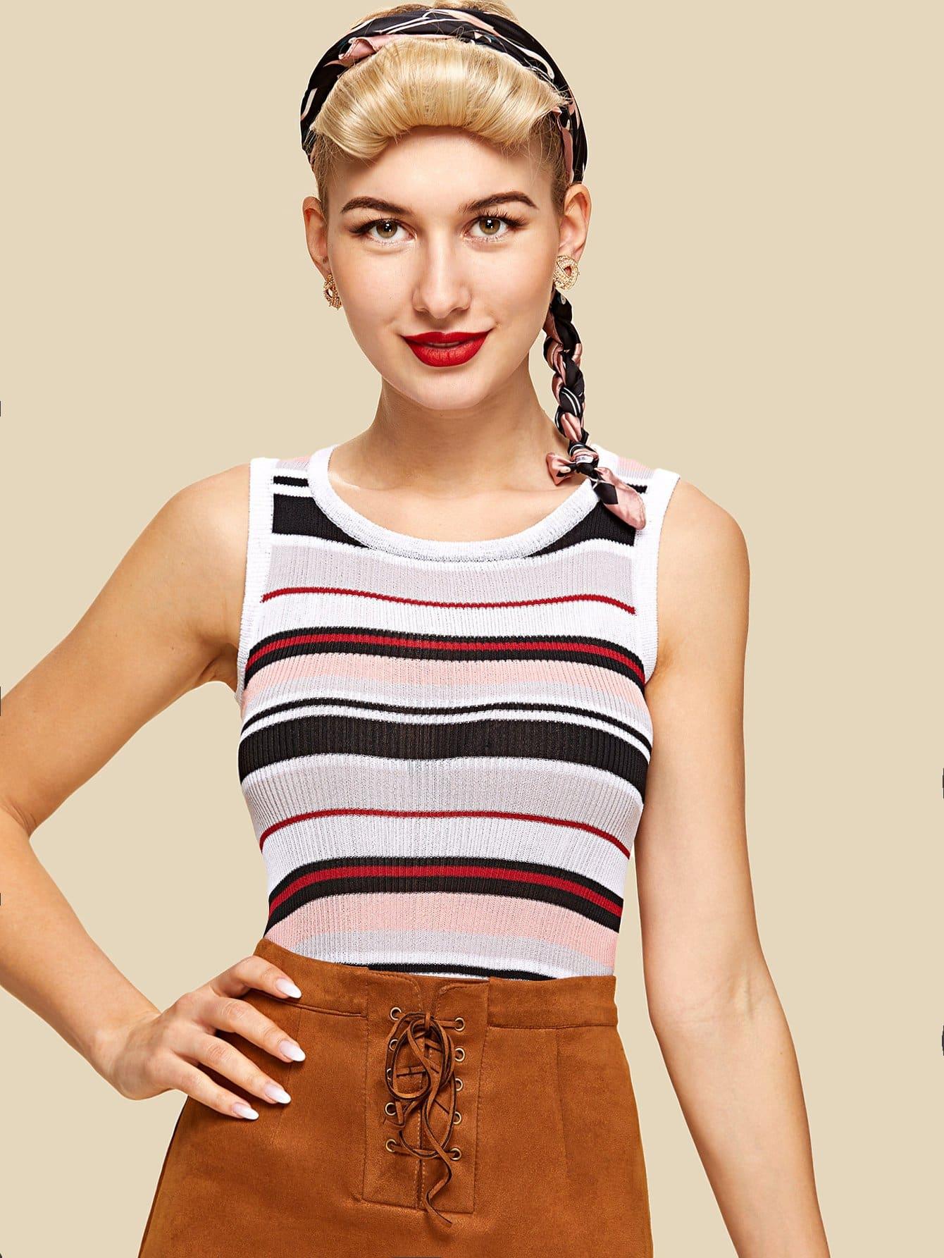 Rib Knit Striped Tank Top rib knit striped bardot top