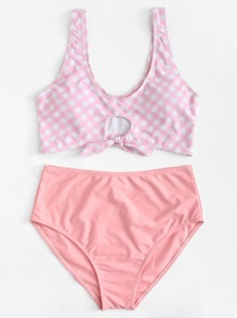 Plaid Knot Front Bikini Set