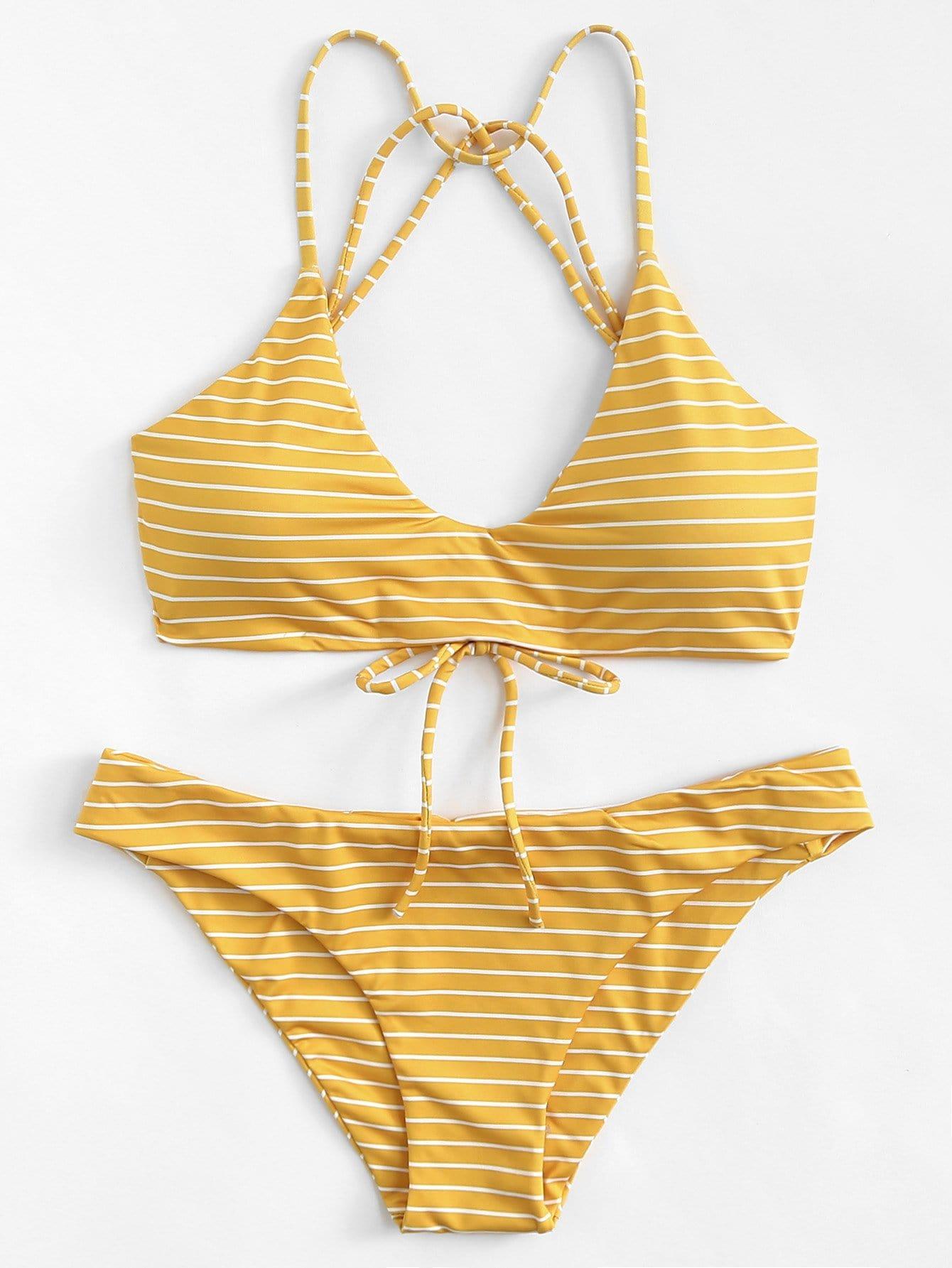 Фото Striped Strappy Bikini Set checker knot bikini set