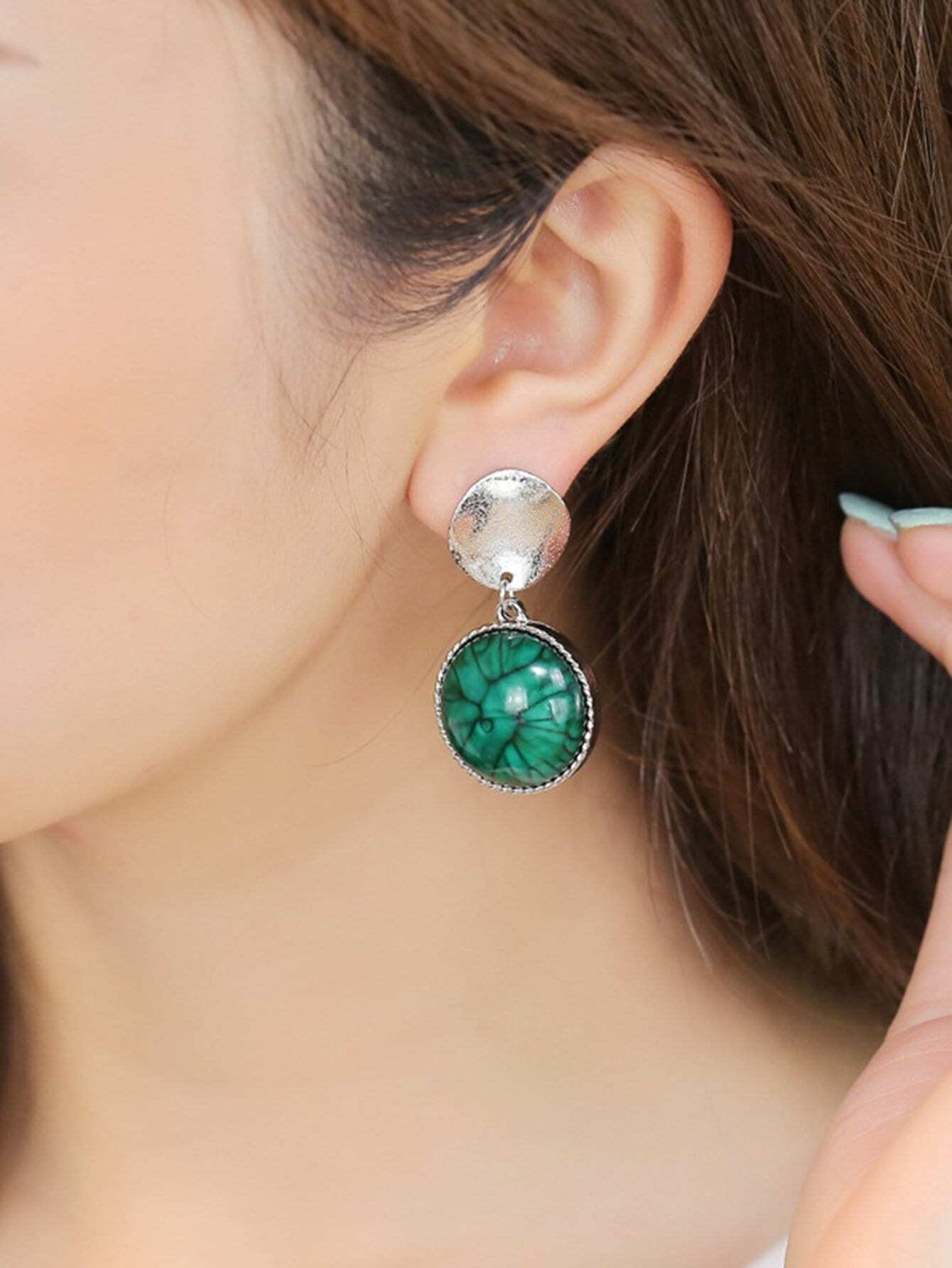 Contrast Round Drop Earrings two tone round flake drop earrings