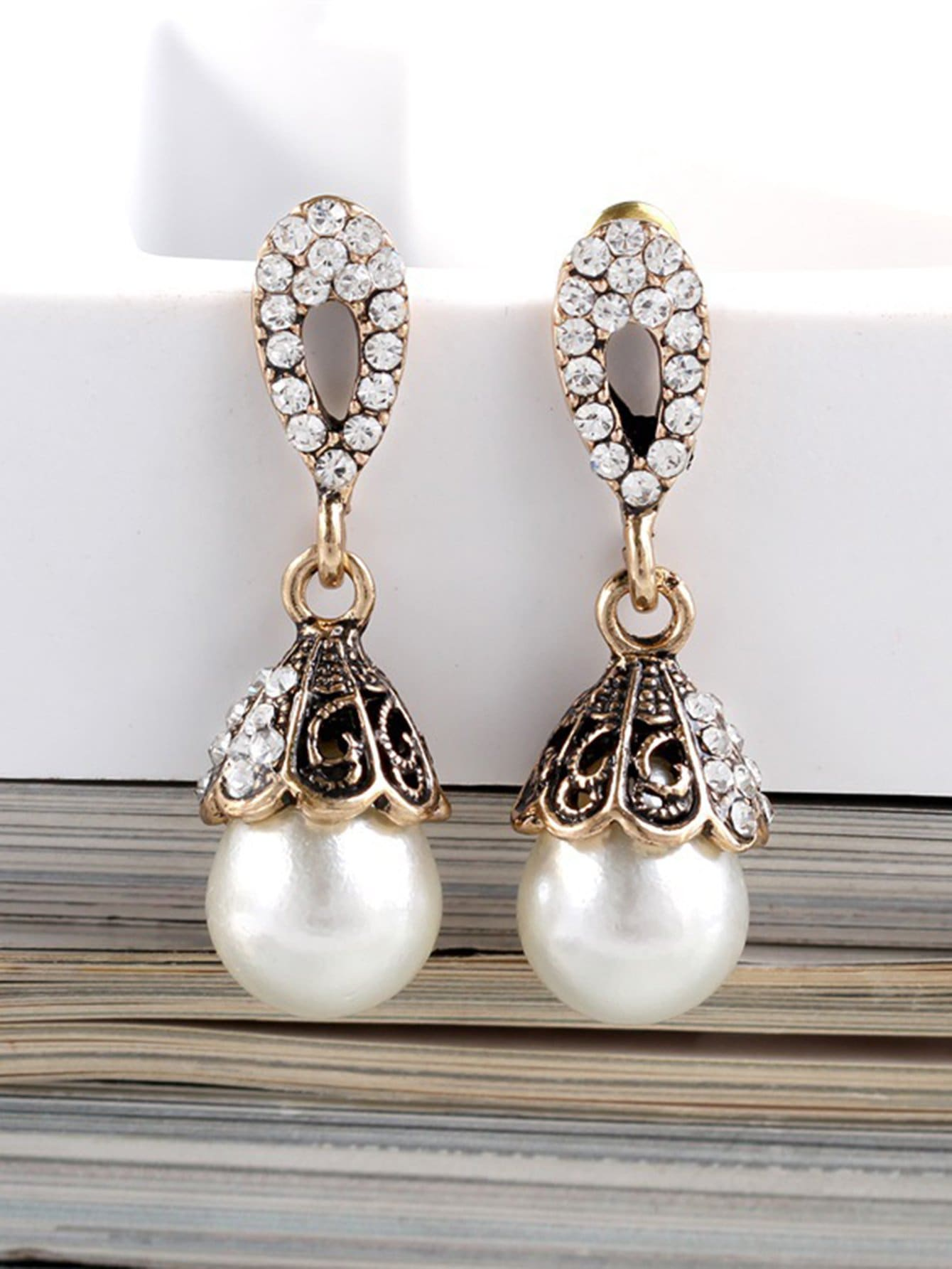 Faux Pearl Drop Earrings water drop faux pearl drop earrings