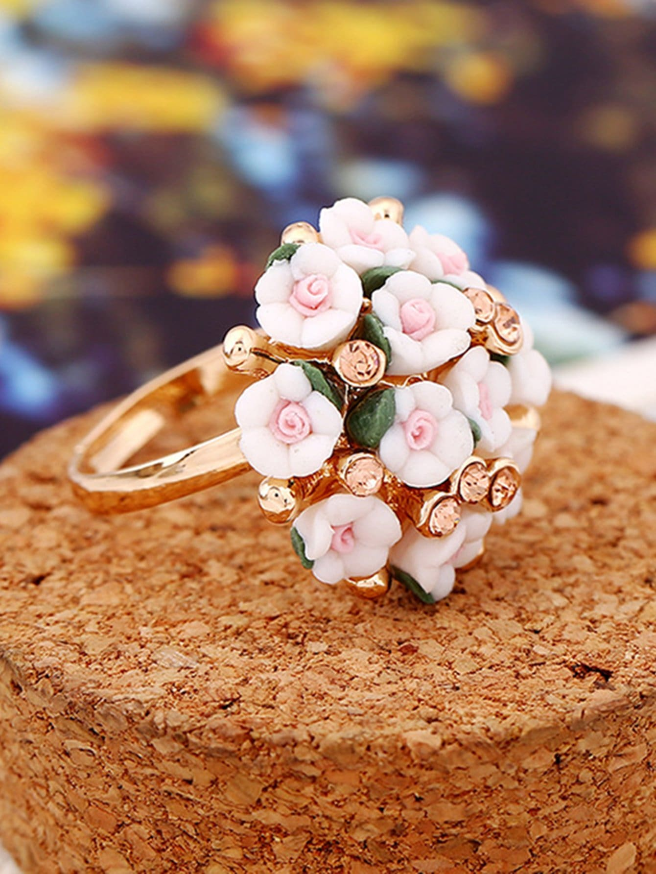 Flower Inlay Statement Ring