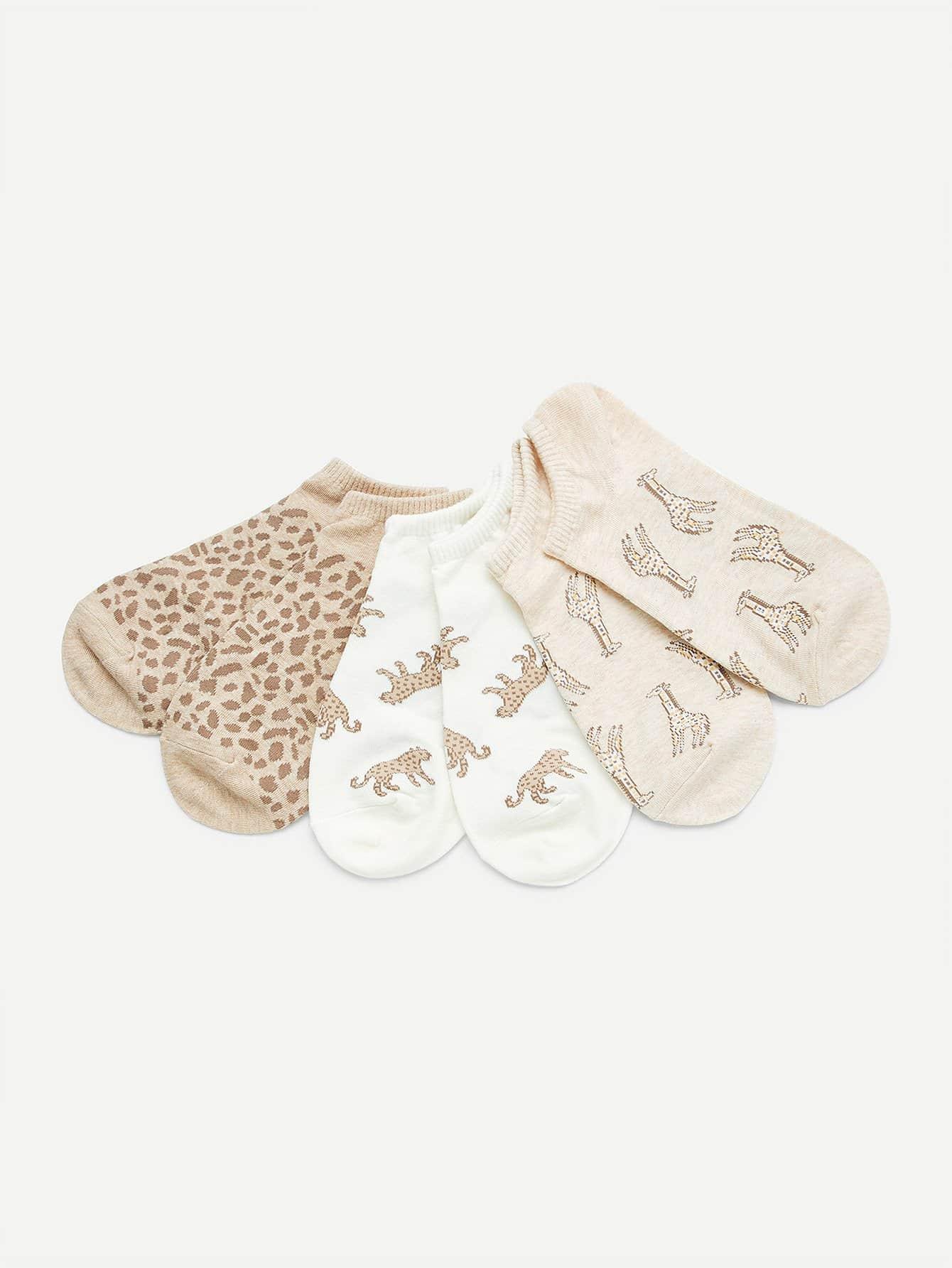 Animal Print Invisible Socks 3pairs animal embroidery invisible socks 3pairs