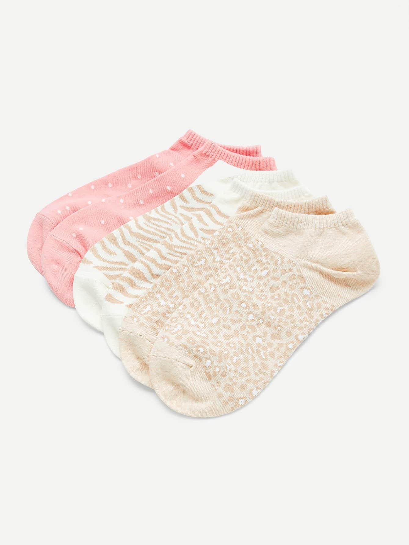 Zebra Print Invisible Socks 3pairs animal embroidery invisible socks 3pairs