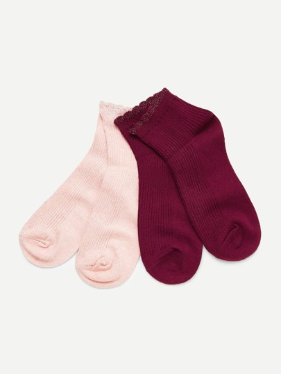 Scalloped Trim Ankle Socks 2pairs