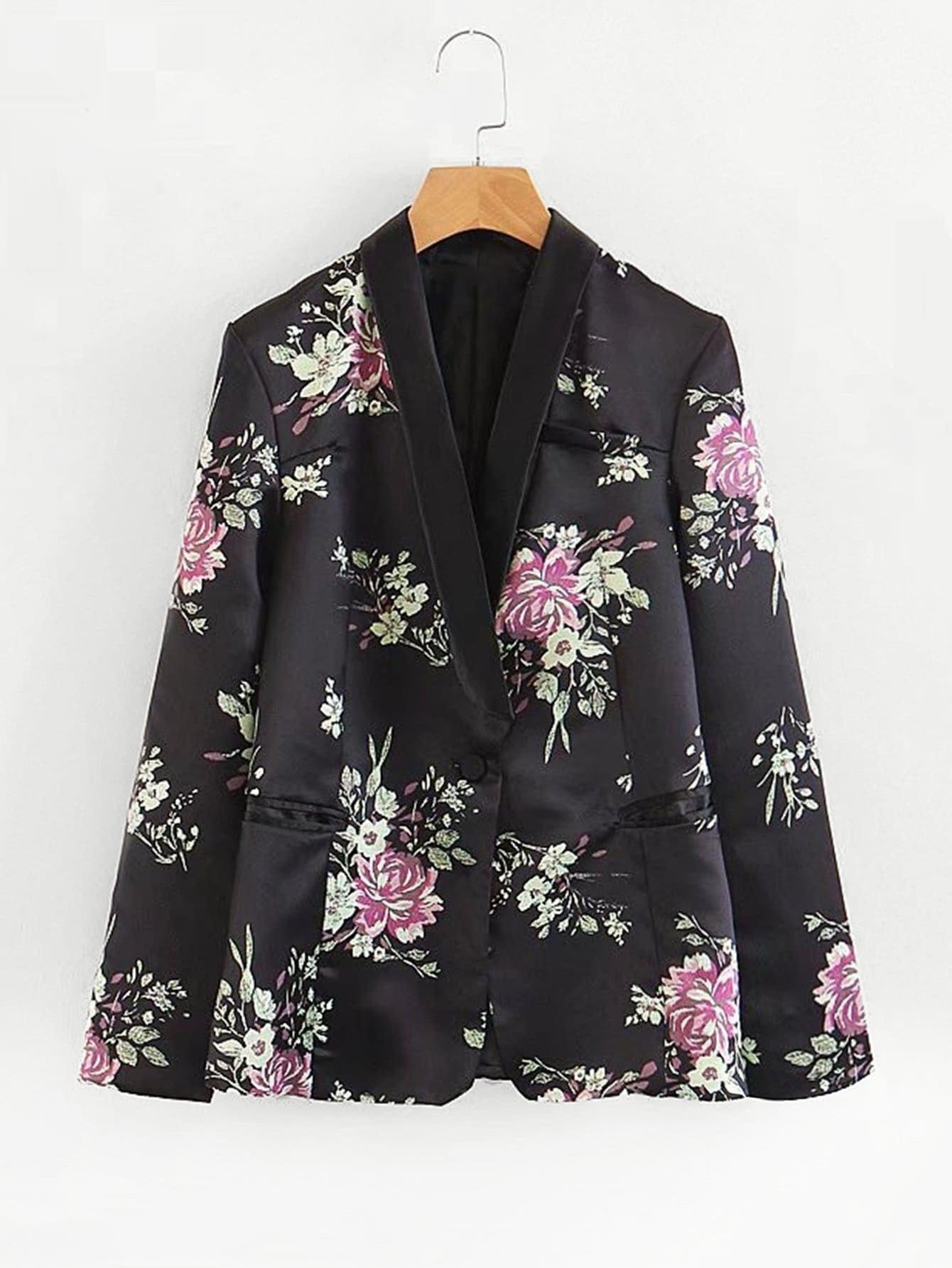 All Over Florals Satin Blazer all over florals dip hem shirt