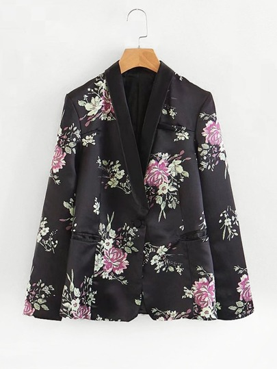 All Over Florals Satin Blazer