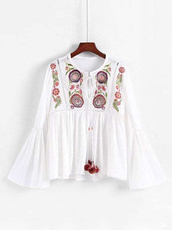 Pom Pom Detail Embroidery Babydoll Blouse elbow sleeve contrast mesh pom pom detail blouse