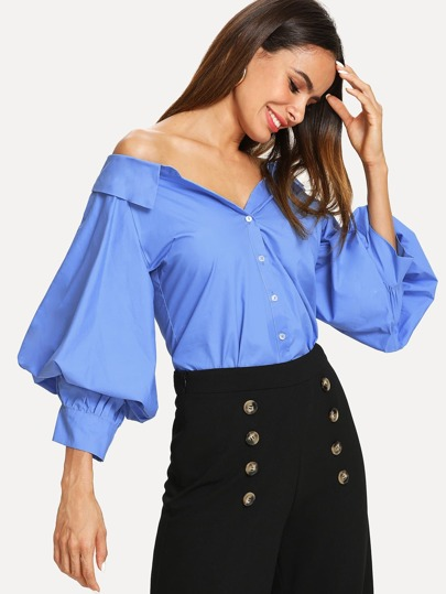 Off Shoulder Balloon Sleeve Shirt