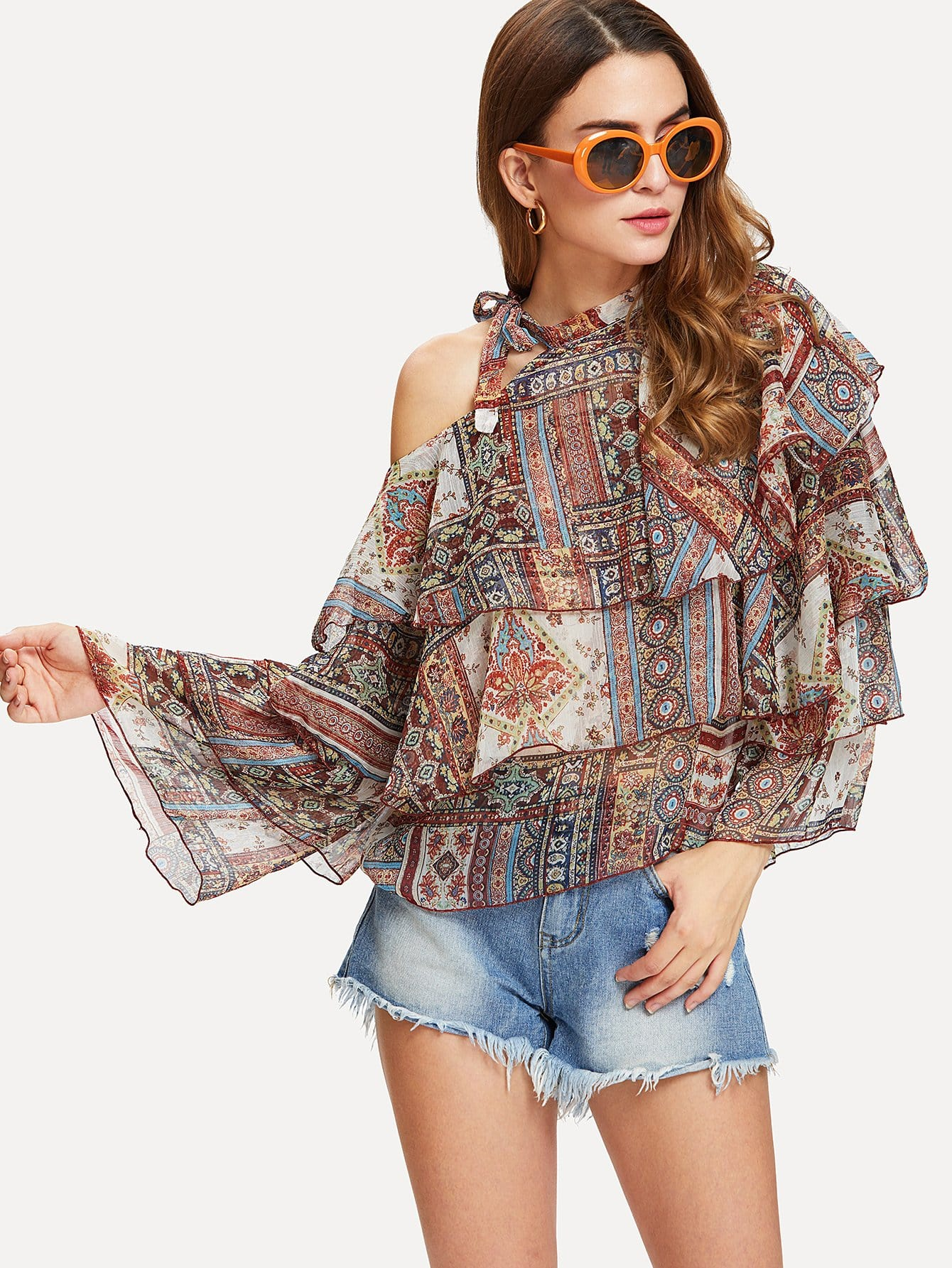 Tiered Ruffle Chiffon Blouse tiered layer ruffle jacket