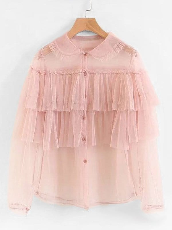 Tiered Ruffle Mesh Shirt tiered layer ruffle jacket
